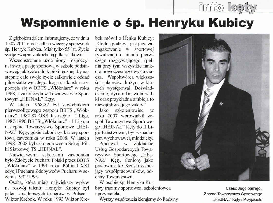 NIEZAPOMNIANI: Henryk Kubica – kapitan parkietu