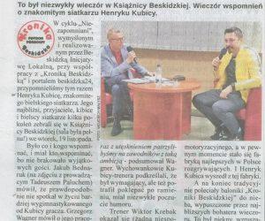 """Henryk niezapomniany – artykuł z """"Kroniki Beskidzkiej"""""""